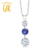 Gemstoneking 1.69 ct redonda natural tanzanite branco topázio azul 925 sterling silver três gemstone pendant necklace para mulheres