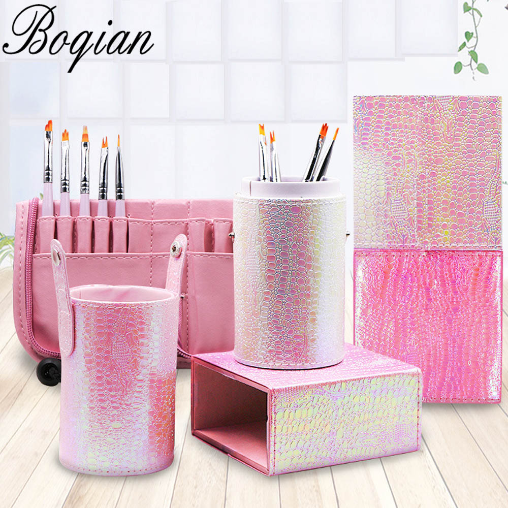 BQAN 1 Pc <font><b>Mermaid</b></font> Fish Scale Nail <font><b>Brush</b></font> Holder Storage Case <font><b>Bag</b></font> Cosmetic Pen Organizer <font><b>Makeup</b></font> Manicure Nail Art Tool Accessory image