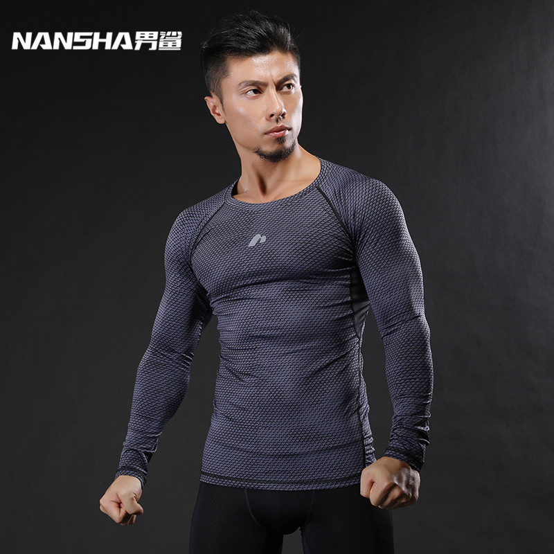 NANSHA Mens Fitness hosszú ujjú póló férfiak testbőr Tight Thermal kompressziós ingek MMA Crossfit Workout Top