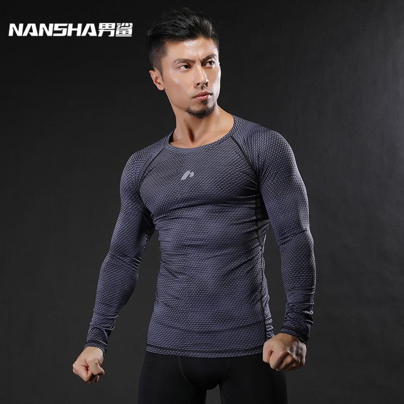 NANSHA Mens כושר גופני ארוך שרוולים T חולצה גברים פיתוח גוף עור דחוס דחיסה חולצות MMA Crossfit Workout Top
