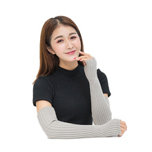 New 6Colors Womens Winter&Autumn Christmas Cashmere Blend Knitted Long Gloves Solid Color Fashion Warm For Lady Elbow Mittens