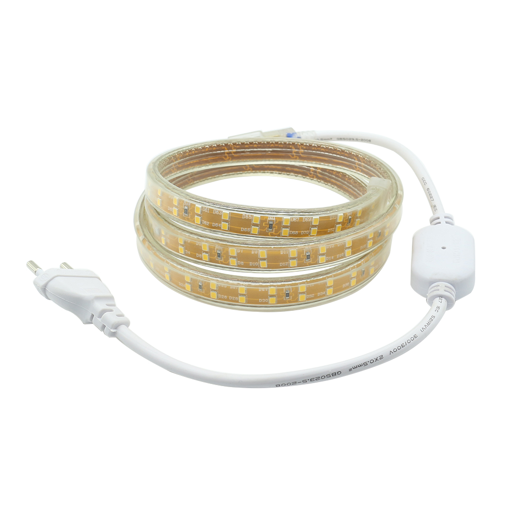 SMD 2835 AC 220V led strip flexible light 156leds/m IP67 Waterproof led tape 1M/2M/3M/4M/5M/6M/7M/8M/9M/10M/15M/20M +Power Plug