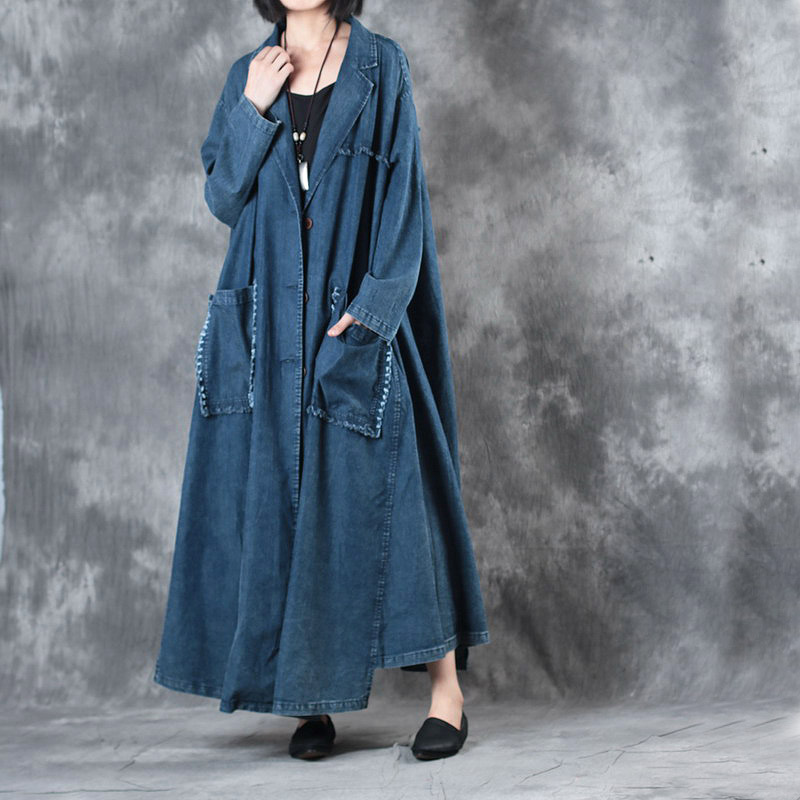 2019 female new autumn and winter vintage loose plus size outerwear long design expansion bottom retro denim   trench