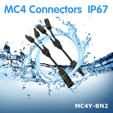 цена на 1Pair PowMr Connectors IP67 Waterproof MC4 Male And Female Solar Panel Cable Connector MC4Y-BN2