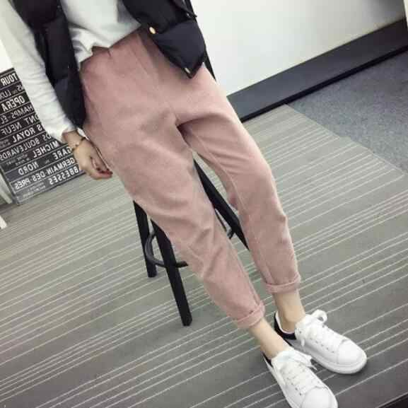 Herbst Frauen Cord Hosen Pantalon Mujer Elastische Taille Harem Hosen Plus Größe 3XL Jogginghose Hosen Lose Hosen DV231