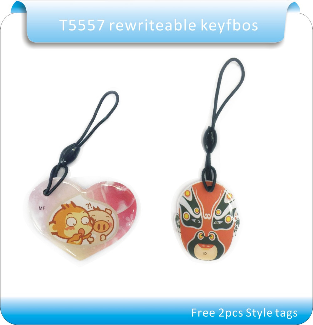 10pcs/lot Chinese Style 125Khz&13.56MHZ  RFID Writable Proximity Rewritable Key Tags For Access Control Rfid Copier