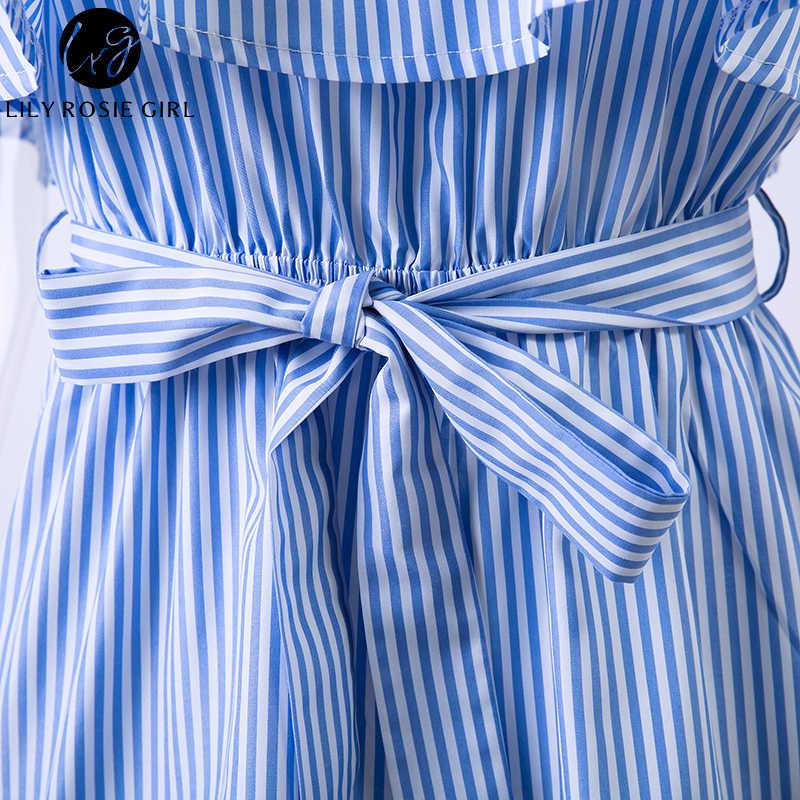 Лилия Рози девушка синие полосатые оборки, открытые плечи Комбинезоны женские сексуальные летние пляжные короткие комбинезоны на бретельках комбинезоны спецодежда