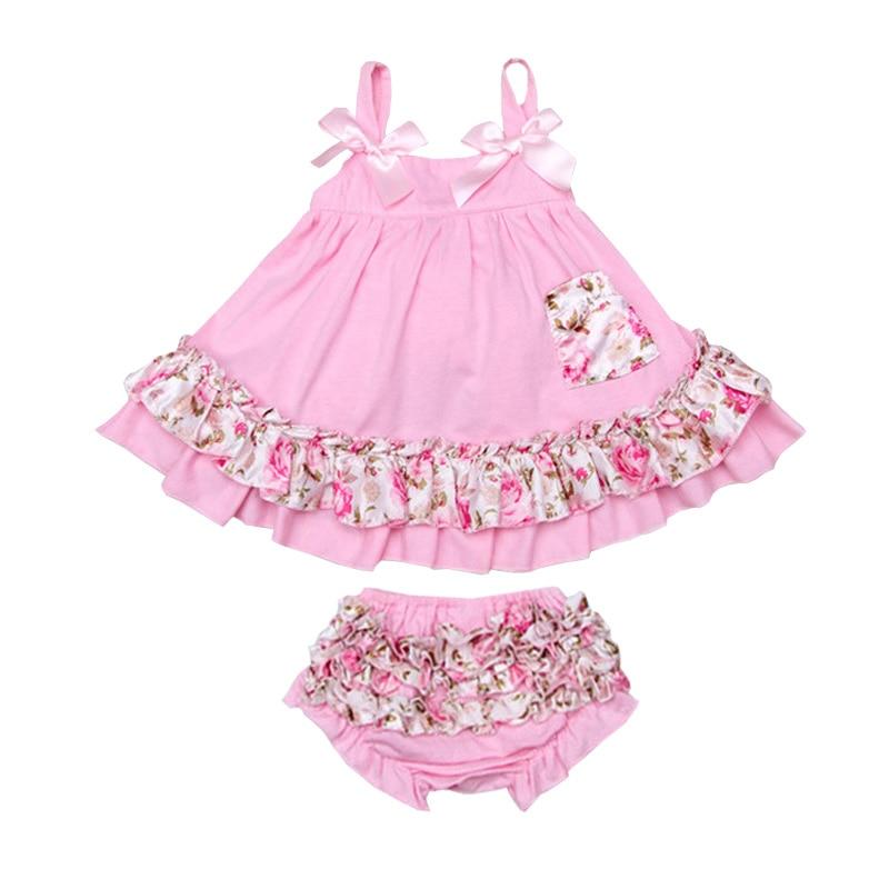2pcs/set Baby Clothing Set Summer Fashion Flower Newborn Baby Girl Clothes 0-24M Baby Girl Set Bow Sling T-shirt+Ruffles Pants casserole set