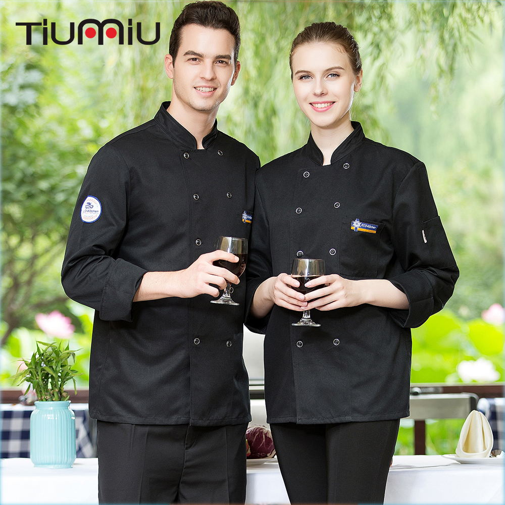 Wholesale Women Men Chef Jackets Stand Collar Embroidery Badge Double Breasted Long Sleeves Bakery Kitchen Uniforms Work Jackets