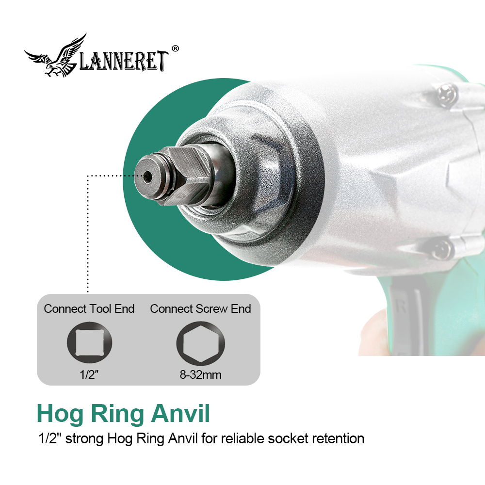 Image 4 - LANNERET 450W Electric Impact Wrench 300Nm Max Torque 1/2 inch Car Socket Electric Wrench Changing Tire Tool-in Electric Wrenches from Tools on