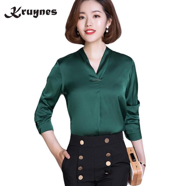 5573a944387c57 2018 New Women Office work shirts female elegant high quality silk satin  long sleeve V-Neck lapel Party blouse Tops Female