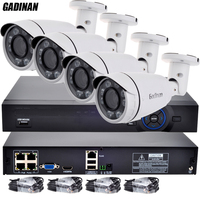GADINAN Onvif 1080P 4CH HD NVR POE KIT Real POE 48V 2MP 4pc POE IP Camera