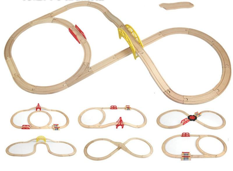 Holz Eisenbahn Gerade und Gebogene Expansion Track Nehmen-n-Spielen Motorisierte Elektrische Zug TrackMaster Spielzeug