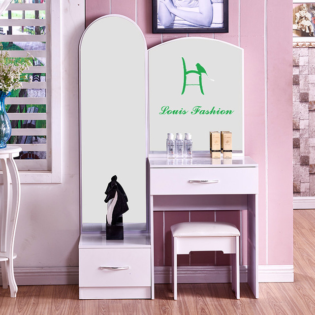 Modern Minimalist Princess Bedroom Dresser Plate Assembly Of Large Sized  Apartment White Paint Makeup Table