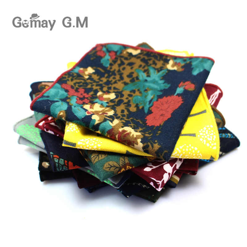 Fashion Suits Flower Printing Pocket Square 25cm*25cm Men's Cotton Handkerchiefs Chest Towel Ladies Hanky Hankies for Men