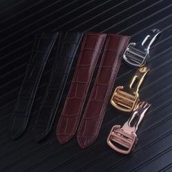 Чёрный; коричневый пояса из натуральной кожи ремешок для часов 16 18 20 22 23 24 мм телячьей с складная застежка подходит Tank б