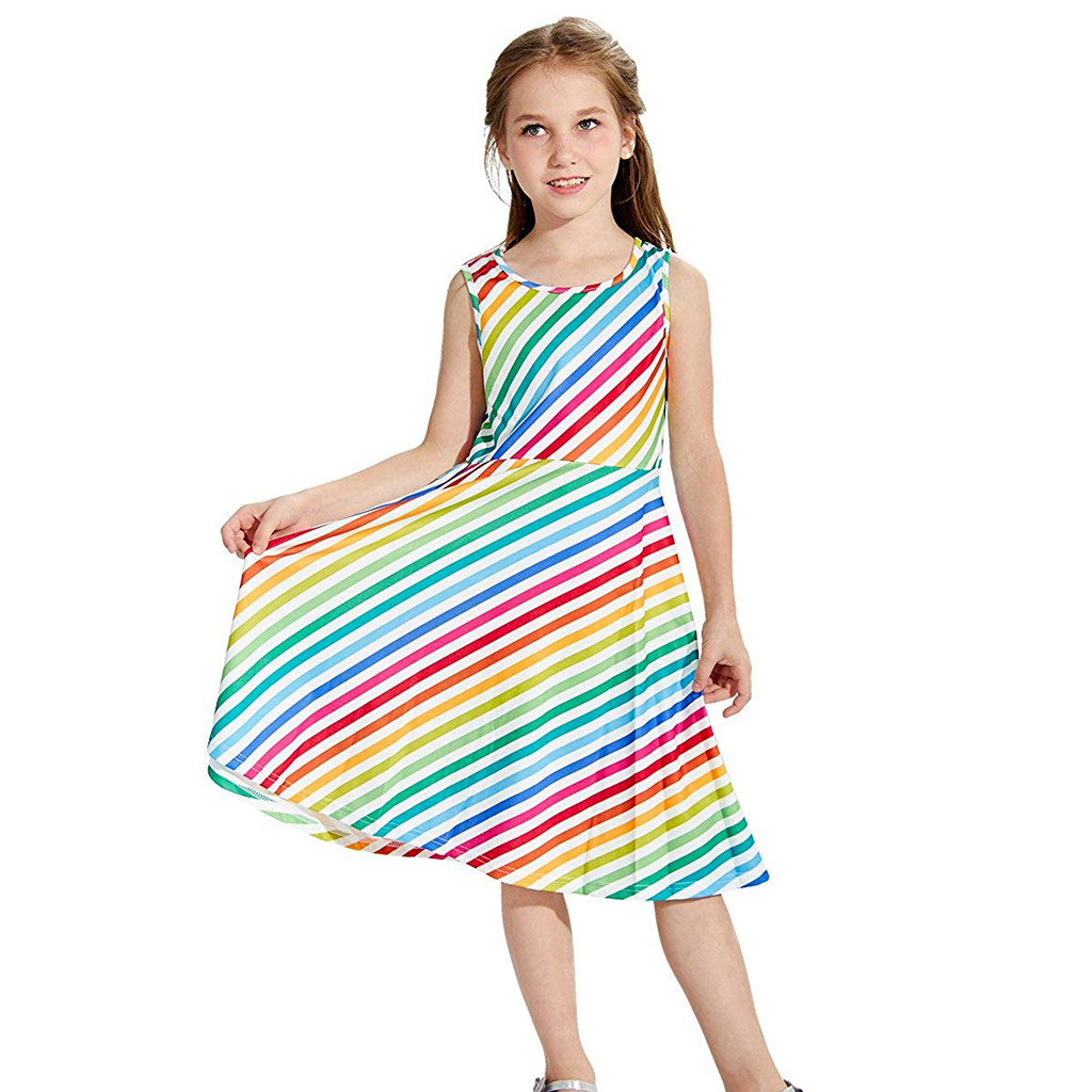 Mother & Kids Ishowtienda Baby Dress Rainbow Print Youth Teen Kids Girl Sleeveless Striped Dress School Party Sundress Clothes Aromatic Character And Agreeable Taste Dresses