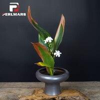 Винтаж Изысканный Матовый Черный грубая керамика ваза высокие ноги цветочный горшок гидропоники плантаторов Керамика чаши японский Стиль