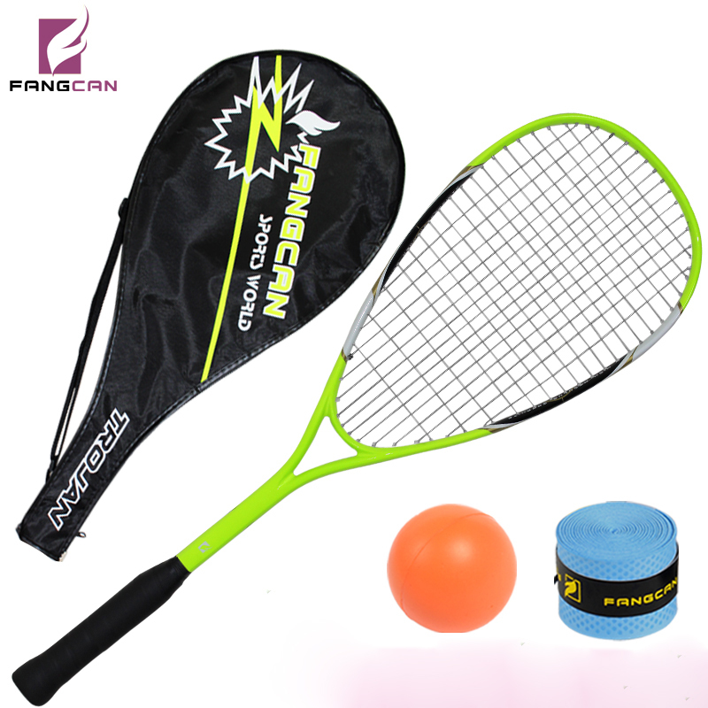 (2pieces/lot)FANGCAN high-end titanium squash racket, fluorescent green, cover and grip as gift, entry level squash racquet ...