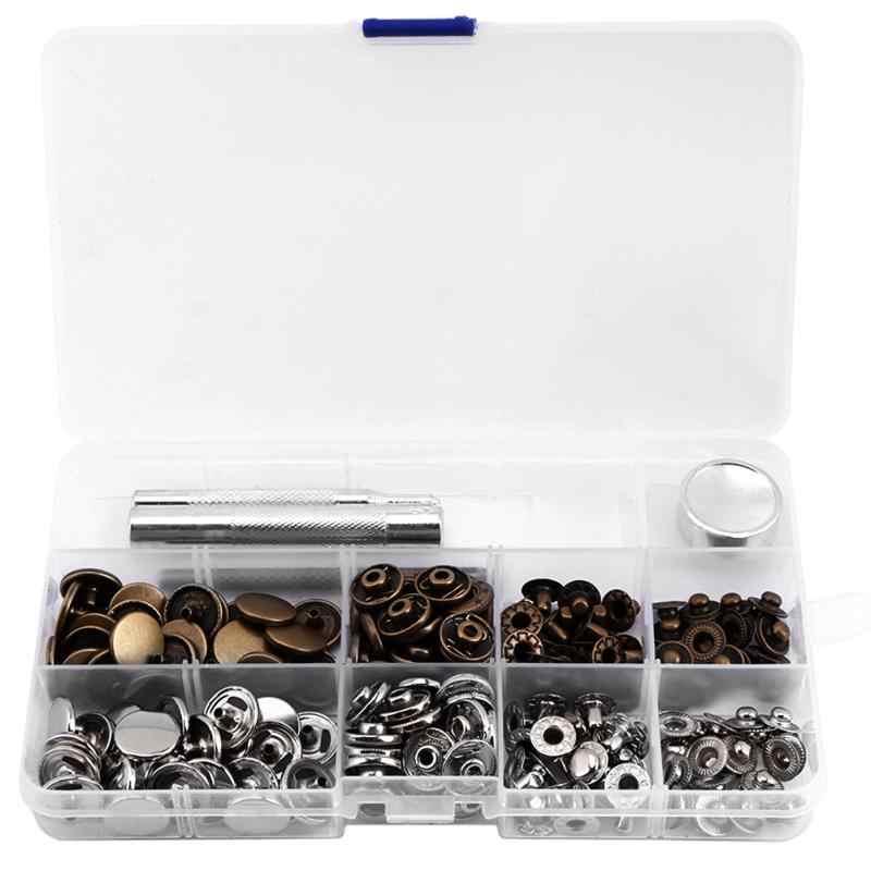 50 наборов металлические вставные кнопки Нажимные кнопки + Дырокол + инструмент настройки DIY фиксация пресс штифты, заклепки для кожи