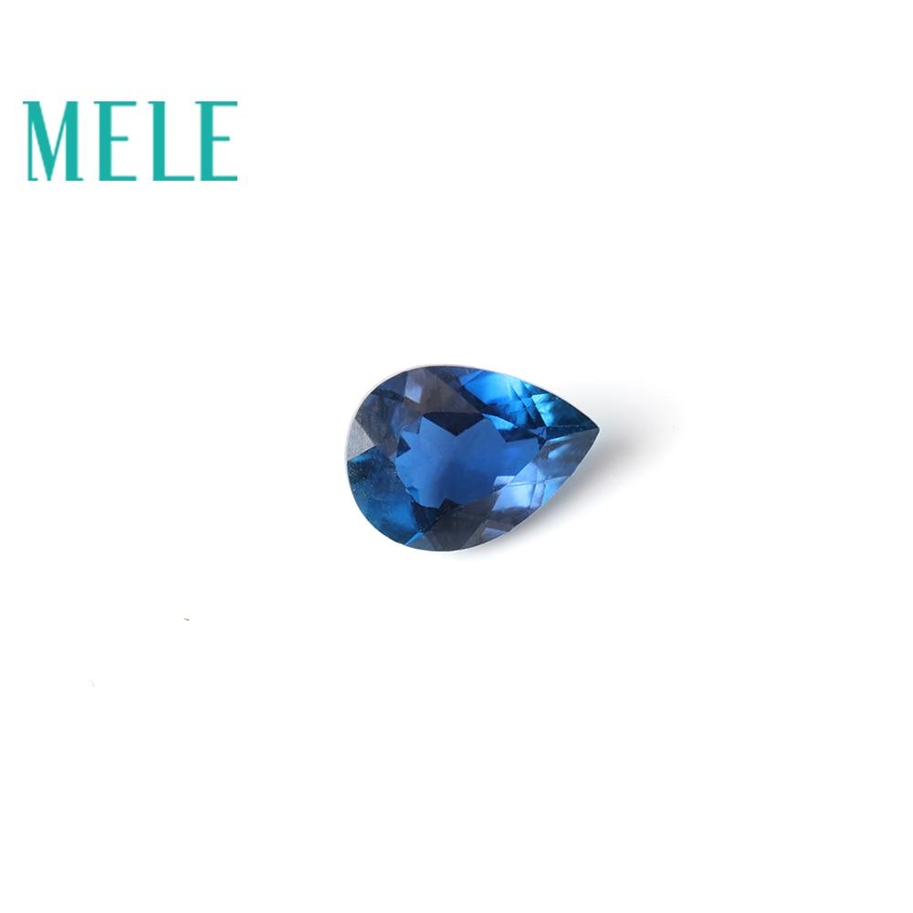 MELE Natural aquamarine, ,water drop,Pear shaped dark blue DIY jewelry matching stone