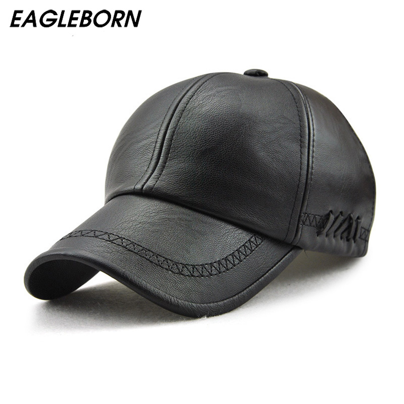 EAGLEBORN New fashion high quality fall winter men leather hat Cap casual moto snapback hat men's baseball cap wholesale princess hat skullies new winter warm hat wool leather hat rabbit hair hat fashion cap fpc018