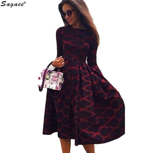 Модные Сексуальные Женщины Урожай С Длинным Рукавом Длиной До Колен Dress Весна Осень Леди Boho Плед Отпечатано Партия Принцессы Dress vestido Oct18