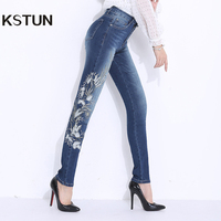 KSTUN Jeans for Women Stretch High Waist Skinny Slim Fit Blue Embroidered Flowers Pencils Denim Pants Femme Trousers Big Size