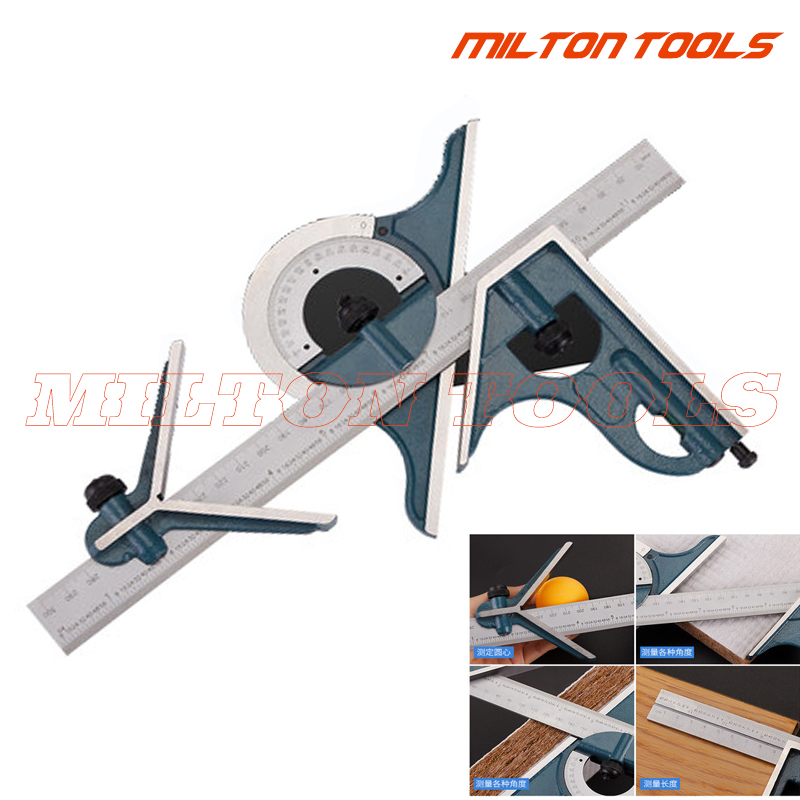 Professional Combination Square Protractor Set Angle Measuring Tool Blue