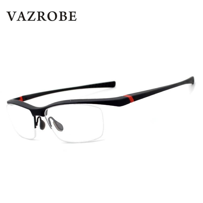 27f3b6e246446 Vazrobe Semi Rimless Glasses Men TR90 Style Eyeglasses Frames for Man  Prescription Spectacles Eyeglass optical myopia
