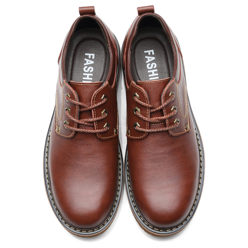 Image 3 - Vancat High Quality Men Casual Sheos 2018 New Genuine Leather Flat Shoes Men Oxford Fashion Lace Up Men's shoes Work Shoe-in Oxfords from Shoes