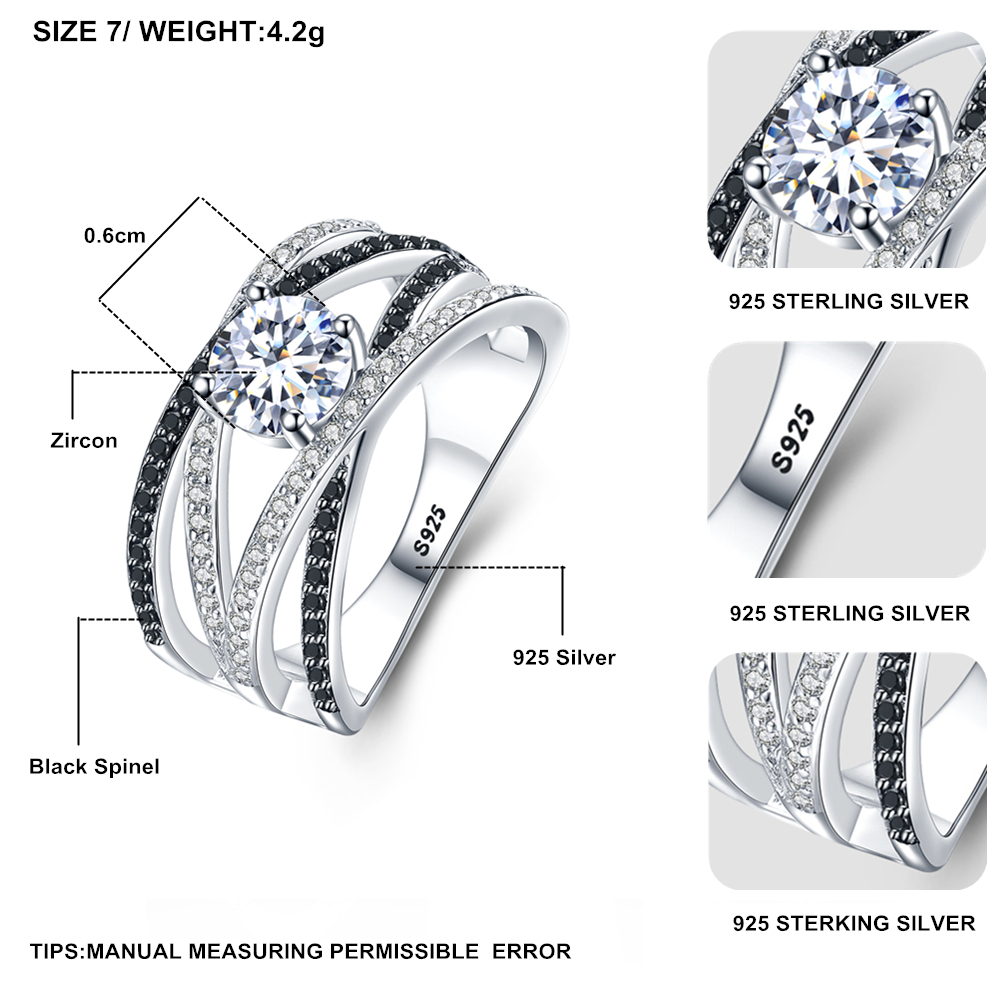 BLACK AWN 925 Sterling Silver Rings for Women Hollow Engagement Ring Bijoux Bague Gift Sterling [BLACK AWN] 925 Sterling Silver Rings for Women Hollow Engagement Ring Bijoux Bague Gift Sterling Silver Jewelry C012