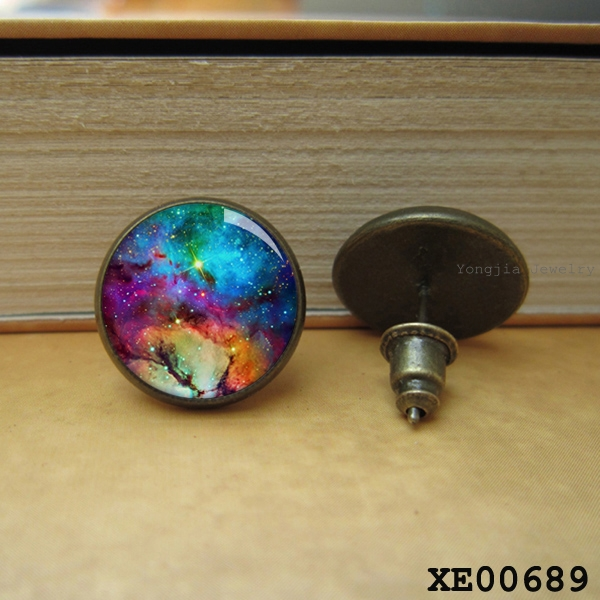 New ! Galaxy Nebula earring Outer Space Star Magic Cabochons Glass Jewelry post Personality earrings post earing