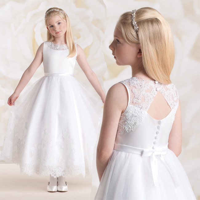 157373d01 2015 Lovely First Communion Dresses Ball Gown White Lace Appliques Ribbon  Dresses For Girls Tulle Vestidos De Comunion infant
