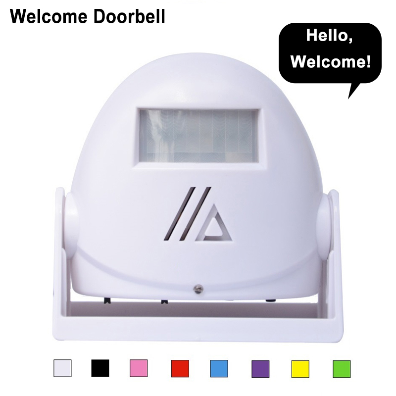 Eyedea wireless Music Door Bell Guest Welcome Chime Alarm PIR Motion Sensor For Shop Entry Security Infrared Detector Doorbell kybq cute android figure style light sensor detector guest welcome doorbell green 3 x aaa
