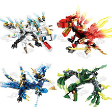 цены на 4pc/set Ninja Dragon Knight Building Blocks Sets DIY Bricks Figures Educational Toys for Children Christmas Gift  в интернет-магазинах