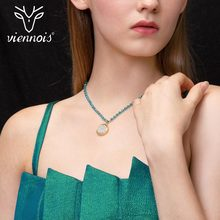 Viennois Light Gold & Blue Color Women Choker Necklace Pattern Pendant High Glass Acrylic Choker Trendy Chain Necklace long blue ribbon choker necklace