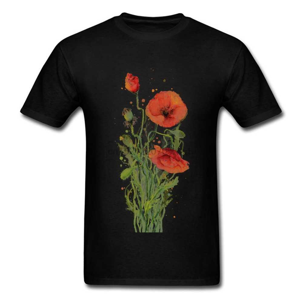 สั้นแขนสั้นสีแดง Poppies สีน้ำเสื้อยืดฤดูร้อน Tops เสื้อ Crazy ลูกเรือคอ Tee - เสื้อ
