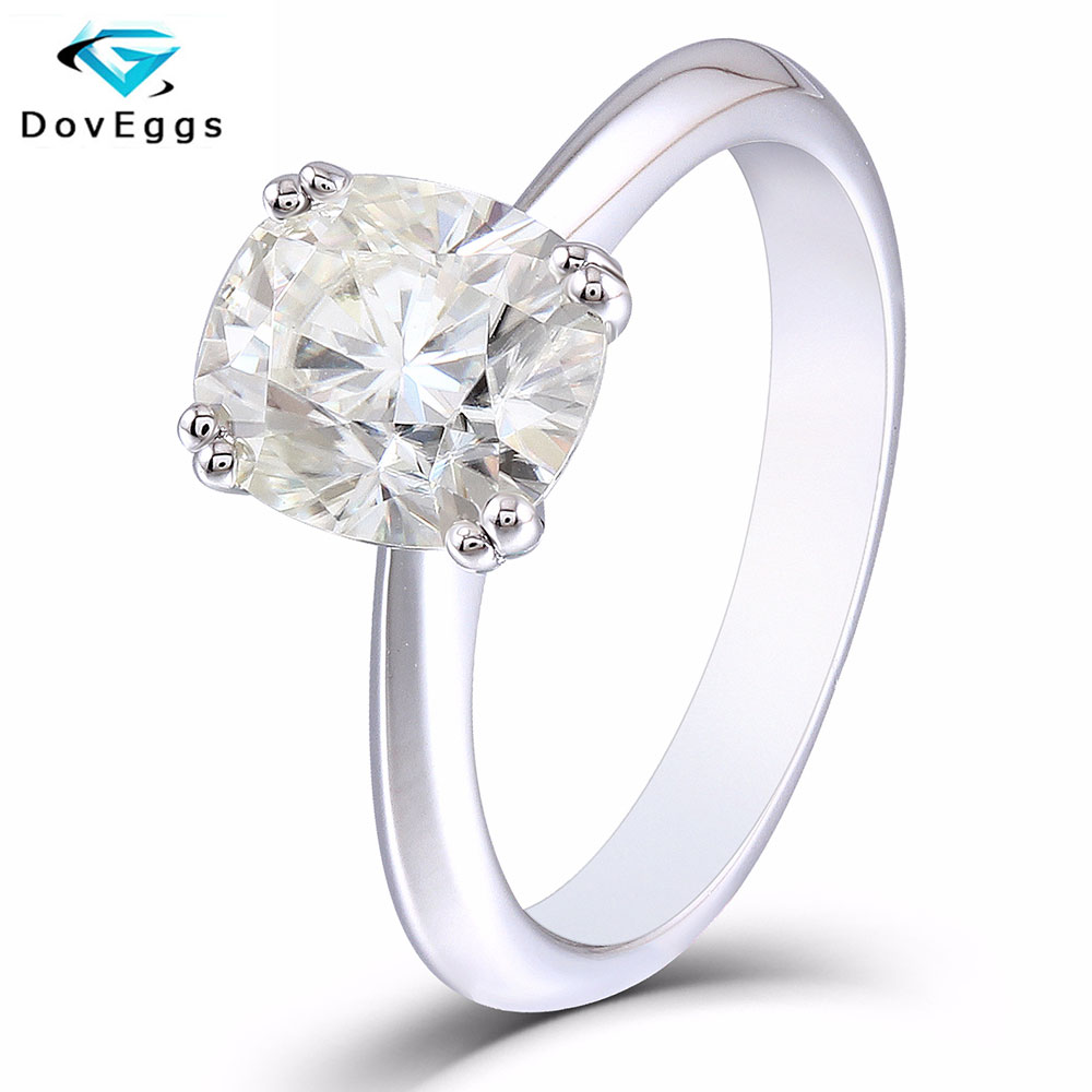 DovEggs 2ct carat 7 8mm Cushion Cut HI Color Moissanite Diamond Engagement Rings for Women Platinum