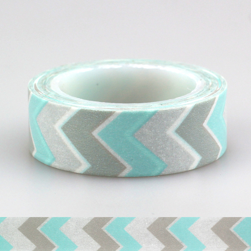 1pcs 15mm * 10m Japanese Washi Tape Decorative Adhesive Tapes Blue White Chevron Pattern Masking Paper Tape Diary Sticker Gift 1roll 30mmx7m high quality feather pattern japanese washi decorative adhesive diy masking paper tape label sticker wholesale