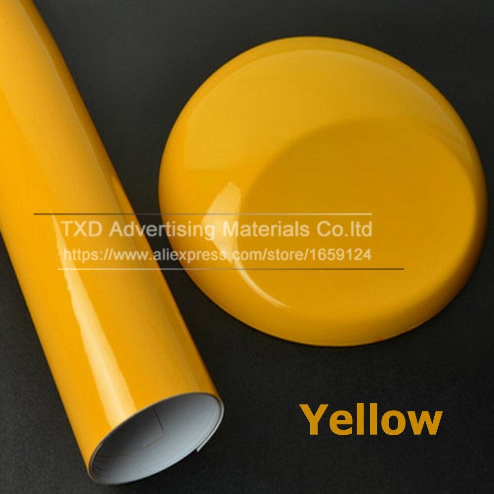 10/20/30/40/50/60x152CM Yellow Glossy Vinyl Car Sticker Glossy Film Wrap Vinyl For HOOD Roof Car glossy Vinyl for car decorate