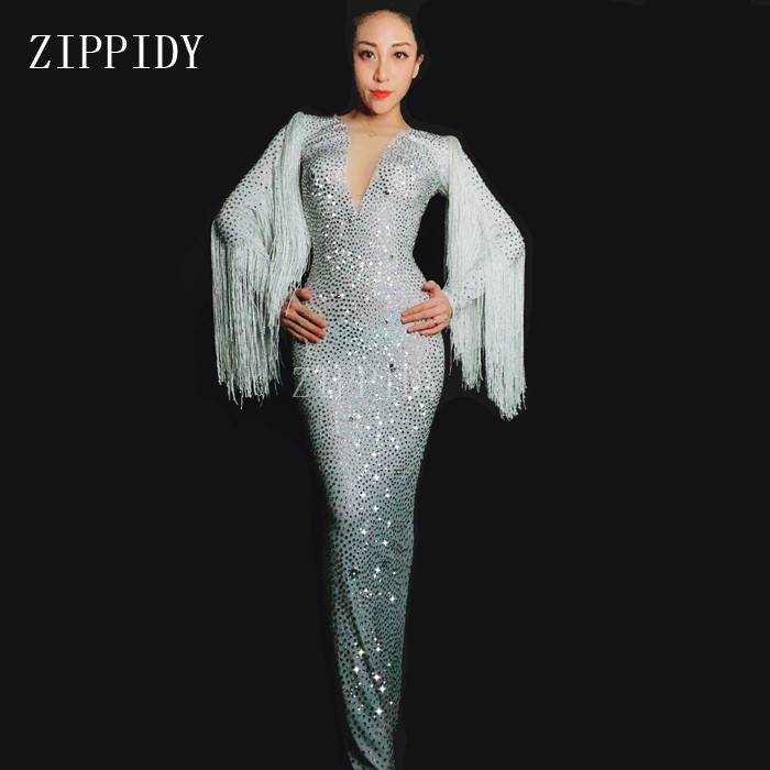 Сияющий белый Стразы бахрома длинное платье женская день рождения, празднование вечернее платье певица кисточкой костюм
