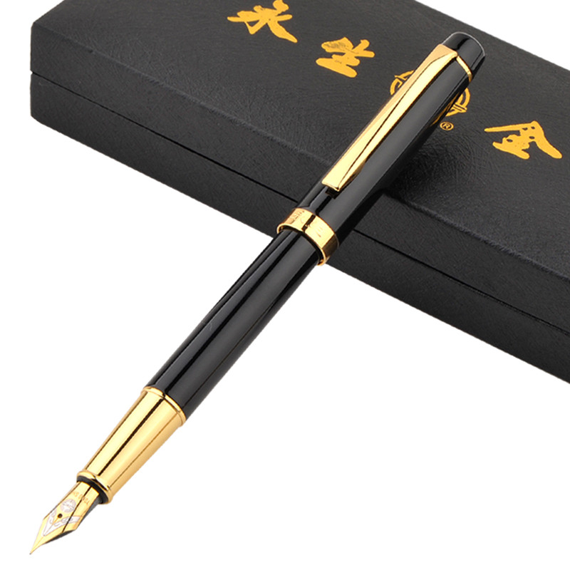 Wingsung 9128 Luxury Black and Gold Clip Fountain Pen with 0.5mm Iraurita Nib High Quality Metal Ink Pens In Gift Case writing business stationery crocodile 136 black and gold fountain pen with 0 5mm nib luxury metal ink pens for christmas gift