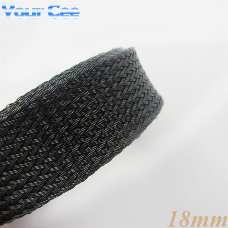 1M 18MM Sheathing Auto Wire Harnessing Nylon Braided Black Cable Sleeving