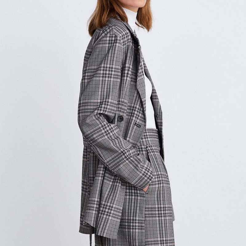 Vintage Double-Breasted Checkered Blazer Women Long Office Lady Suit Coat 2019 Spring Autumn Jacket Women With Sashes AO932
