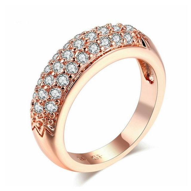 Fashion jewelry wholesale micro half filled with zircon rose gold