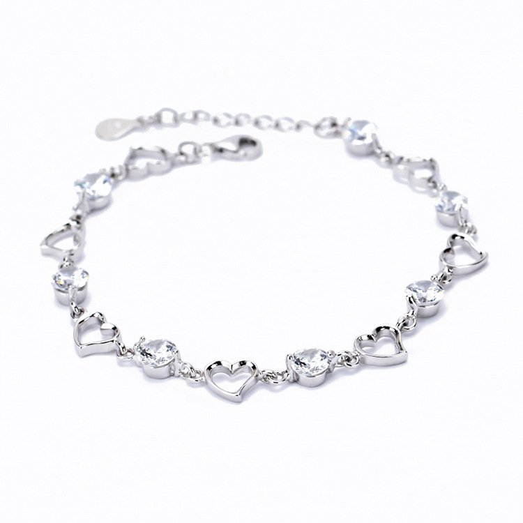 Fashion Design Eternal Love Bracelet 925 Sterling Silver Heart With Swiss Cz Stone Beautiful Bracelets Jewelry For Women Yfnb003 In Chain Link