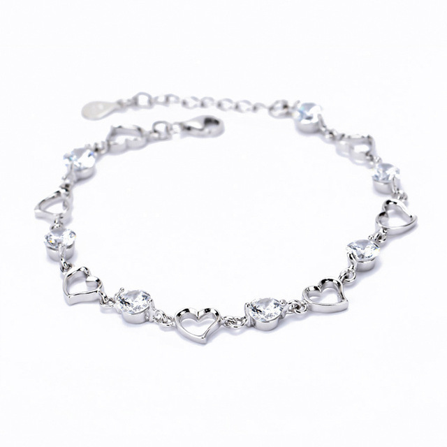 Fashion Design Eternal Love Bracelet 925 Sterling Silver Heart With Swiss Cz Stone Beautiful Bracelets Jewelry
