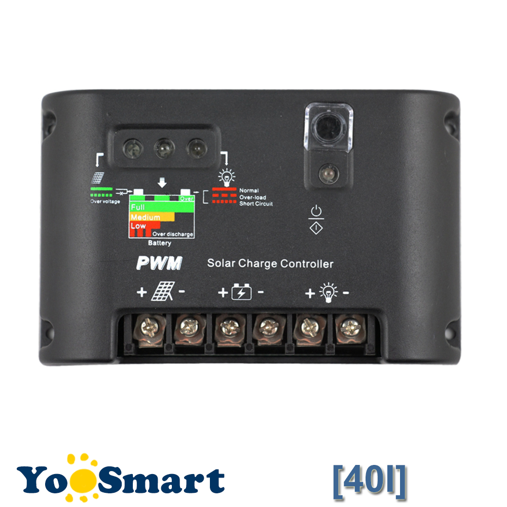 40A Solar Charge Controller 40 Amps Solar Panel Controllers Light and Timer Control 40A For 12V 24V Battery Bank Solar Regulator