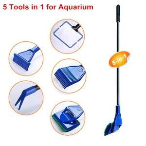 Image 2 - 5 ב 1 אקווריום ניקוי כלים אקווריום טנק נקי סט דגים נטו חצץ לגרוף אצות מגרד מזלג ספוג מברשת זכוכית מנקה